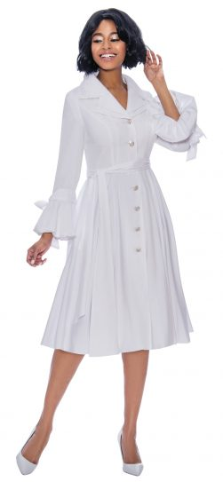 terramina, 7850, white button front shirt dress